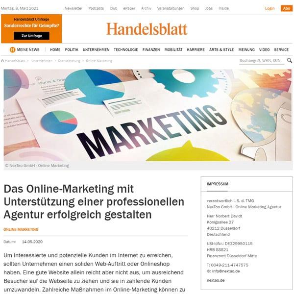 handelsblatt online marketing